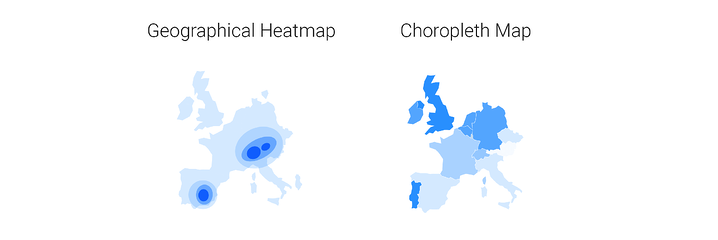Do not confuse a geographical heatmap with a choropleth map