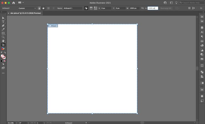 Datylon | How to make a dot plot in Illustrator with Datylon | Prepare Artboart