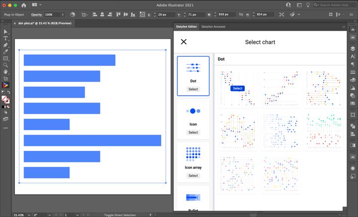 Datylon | How to make a dot plot in Illustrator with Datylon | Select Dot Plot