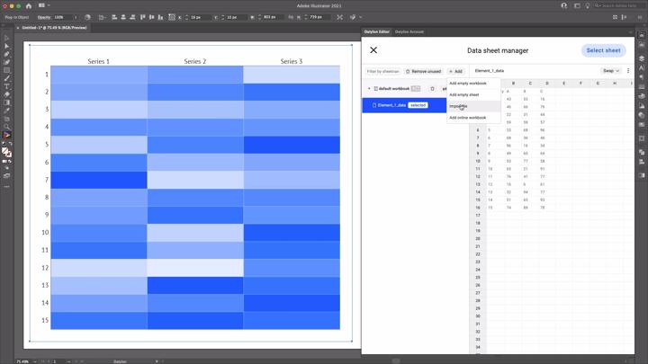 Importing data sheet file to Datylon for Illustrator