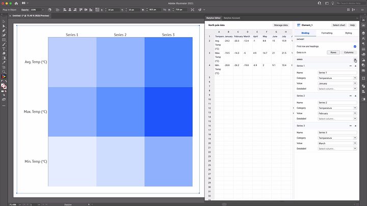 Heatmap updated with data imported to Datylon for Illustrator