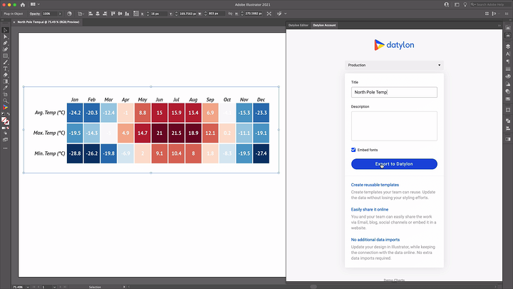 Exporting a chart design to Datylon web app